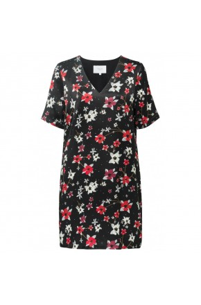 STRAIGHT V-NECK DRESS FLOWER