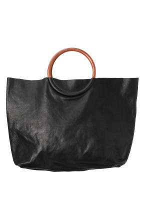 LEATHER SHOPPER WITH WOODEN HANDLE