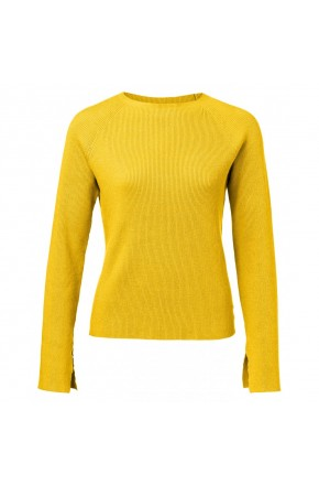 RIB KNIT SWEATER WITH TRUMPET SLEEVES