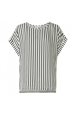 STRIPED TOP WITH CAP SLEEVE