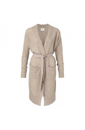 LONG BELTED CARDIGAN WITH FRONT POCKETS