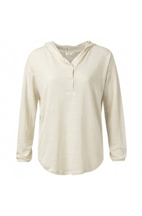 LINEN HOODED TOP WITH ELASTIC CUFFS