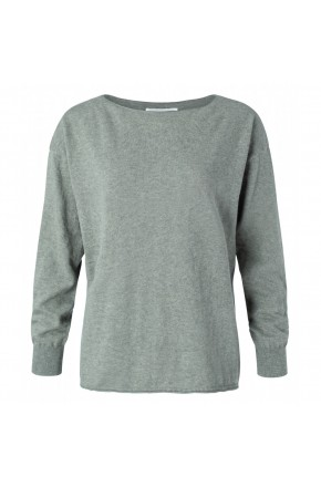 COTTEN BLEND BOAT NECK SWEATER