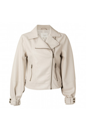 Faux leather biker jacket with baloon sleeves