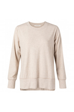 Brushed sweater with slits