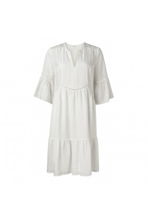 MIDI  A-LINE DRESS WITH RUFFLES IN VISCOSE MIX