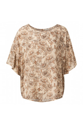 Printed top with ruffled sleeve