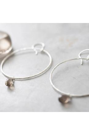 Embrace Smokey Quartz Silver Earrings