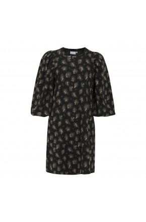 Dress in leopard jacguard
