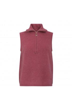 Vest with zipper at front in alpaca